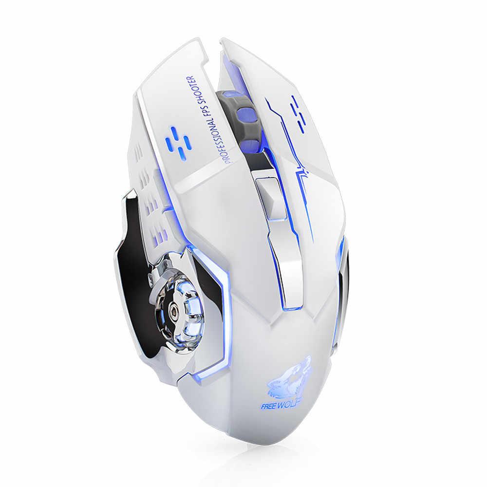 Ouhaobin 充電式 1800 Dpi ワイヤレスサイレント LED バックライトの USB 光エルゴノミックゲーミングマウス WINDOWS XP/勝利 7/ 勝利 8
