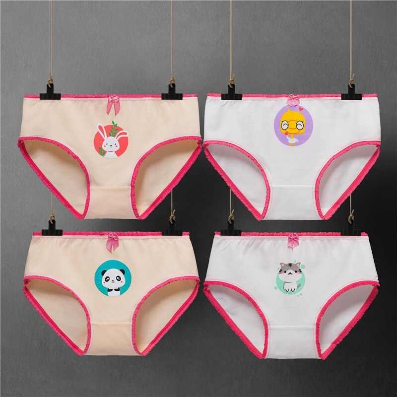 4 개/몫 어린이 팬티 소녀의 팬티 여성 어린이 속옷 아기 소녀 면화 달콤한 디자인 팬티 어린이 의류