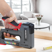 Stapler Nailer-Tool Furniture WORKPRO Plastic Heavy-Duty 6-In-1 Manual for Home