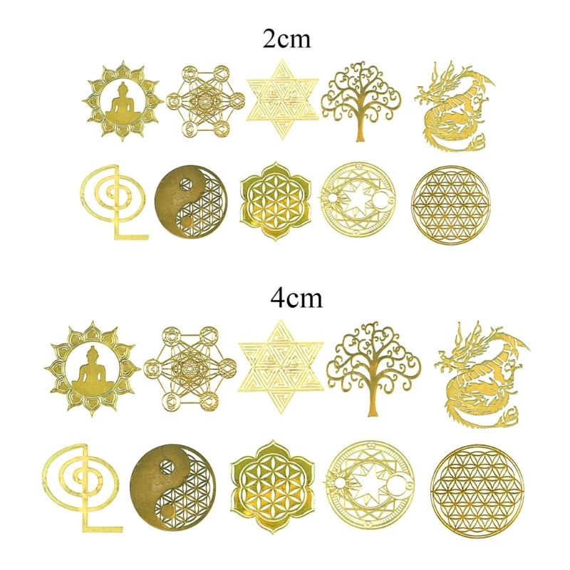 10 adet DIY 7 çakra bakir enerji kulesi orgonit Sticker çiçek hayat ağacı piramit dekor epoksi reçine dolgu reçine el sanatları