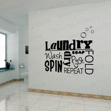 US $5.73 25% OFF|Laundry Room Vinyl Wall Decal Wash Dry Fold Iron Quote Sticker Laundry Decoration Mural PW241