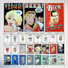 Carteles de lata para cócteles, plato de Metal para bebidas, tienda de Pub, restaurante, cafetería, decoración de arte para el hogar, póster Vintage de hierro, Cuadros 3330A