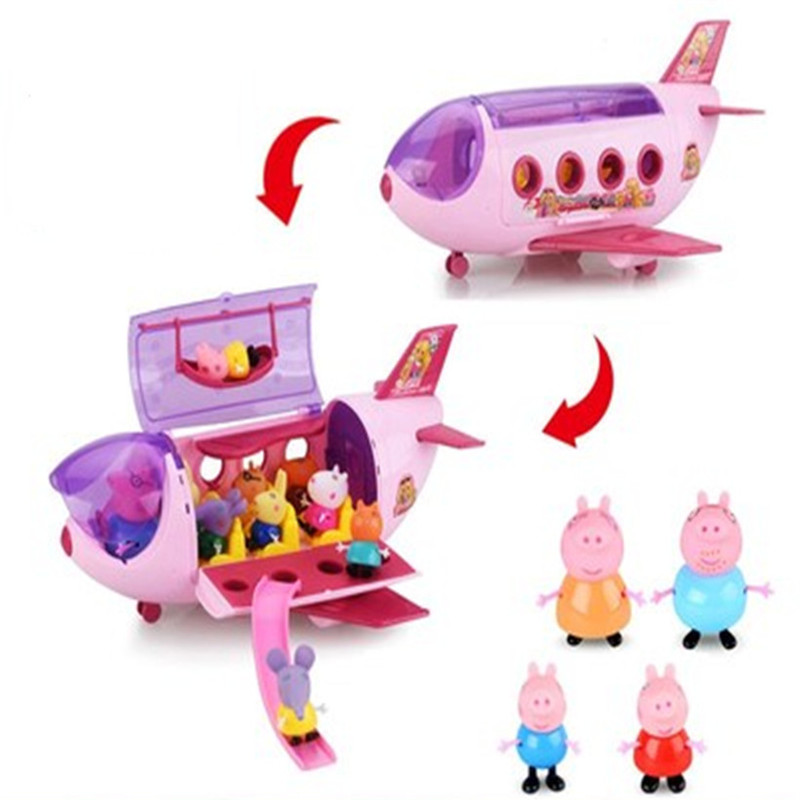Peppa Pig Series Aircraft Amusement Park Sports Car Family Roles Anime Kids Toys Action Figure Model Children Birthday Gifts image