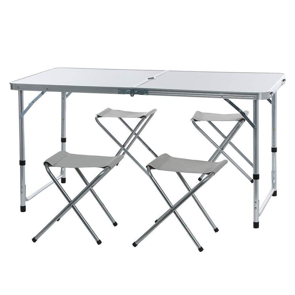 Foldable Picnic Table Furniture Portable Table Chair Camping Aluminium Alloy Ultra-light Durable Folding Table Desk Set
