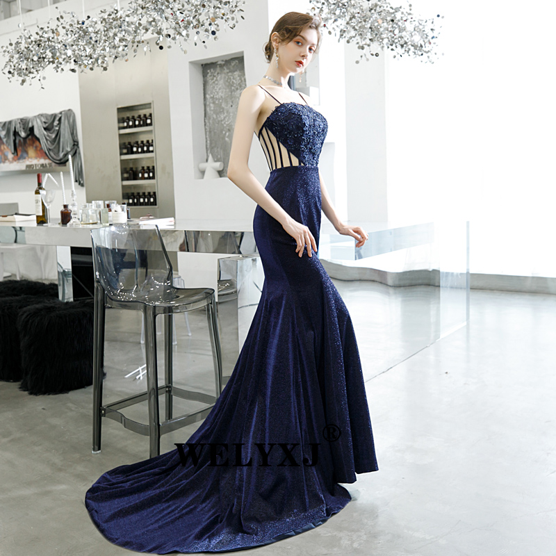 Navy Evening Dresses 2019 Elegant off the shouder Mermaid Sexy Formal Crystal Beading Party Long Prom Dresses for Woman
