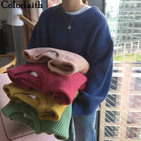Colorfaith 2019 New Autumn Winter Women Sweaters Pullovers Minimalist Korean Style Knitting Elegant Casual Solid Tops SW18129
