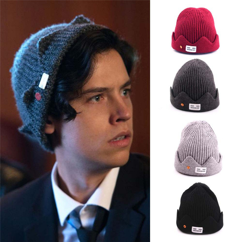 New Riverdale Cosplay Jughead Jones The Main Character Of The Movie Winter Warm Beanie Hat Topic Exclusive Crown Knitted Cap