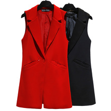 Vest Women Ladies Waistcoat Sleeveless Blazer Plus-Size Black Female Casual Long HH009