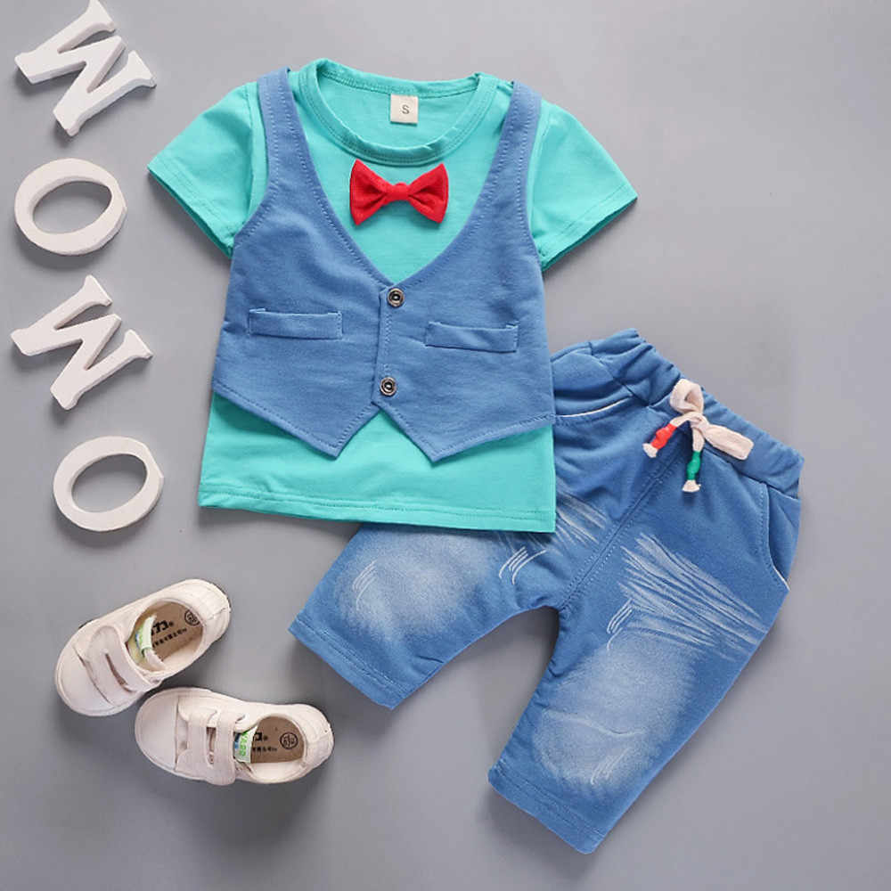 Toddler Kids Baby Boys Outfits Patchwork Cute Short Sleeve T-shirt+pants Gentleman Clothes Set O-neck Tie For 1-4 Years Old Baby