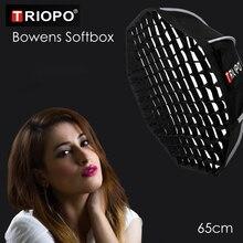 Triopo 65cm stüdyo taşınabilir Softbox w/petek açık Bowens dağı sekizgen şemsiye Video fotoğraf yumuşak kutu Godox