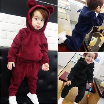 Baby Boy Girl Velvet Hooded Clothing Set Kids Jacket Coat Pants Suit for Sports Suits Tracksuits Toddler Children Clothes MB519 1