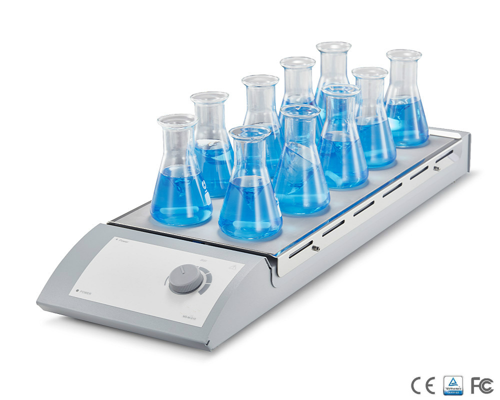 Magnetic Stirrer 10-Position Stainless Steel Work Plate With Silicone Cushion Vol 0.4L*10 Speed 1100 Rpm MS-M-S10