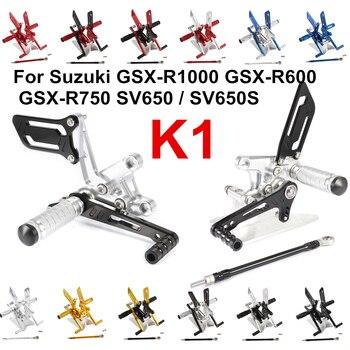 Para Suzuki K1 GSX-R1000 GSX-R600 GSX-R750 SV650 S ajuste piloto de reposapiés de aleación de Rearset trasero reposapiés pie descansa D1