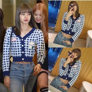 Kpop Blackpink Lisa 2020, корейские Осенние Теплые Синие Клетчатые толстовки с капюшоном и v-образным вырезом, женские короткие Ретро свитшоты для колл...