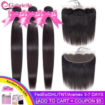 Gabrielle pelo recto mechones con Frontal peruano extensiones de cabello humano mechones con 13X4 Cierre de Color Natural 8-30 pulgadas de cabello Remy