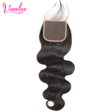 Hair Lace Closure Body-Wave Thick Free-Part Black Natural Vanlov with 130-% Density Can-Be-Dyed