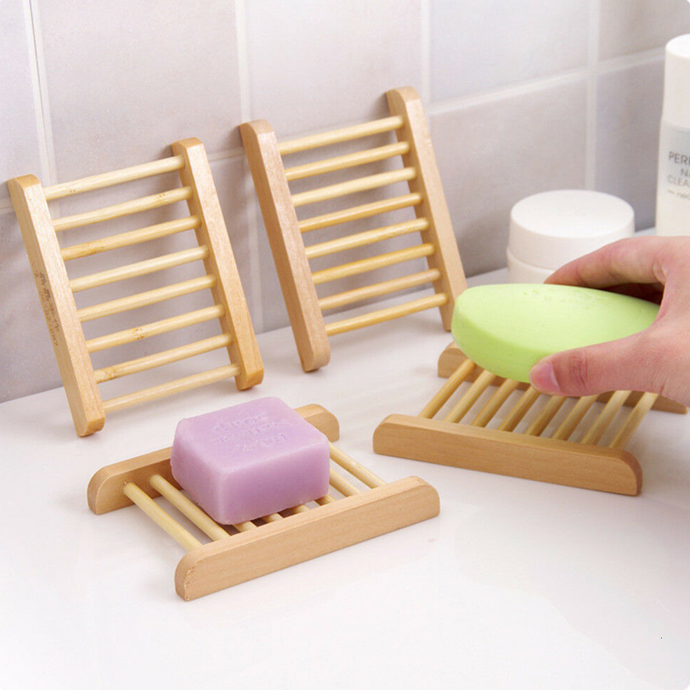 Wooden Natural Bamboo Soap Dishes Tray Holder Storage Soap Rack Plate Box Container Portable Bathroom Soap Dish Storage Box 3