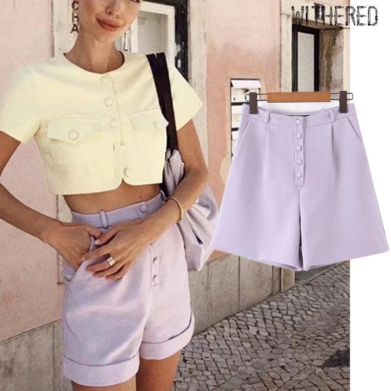 Withered Fashion Blogger Vintage High Waist Single Breasted Purple Solid Harem Shorts Women Short Feminino Plus Size Women Short