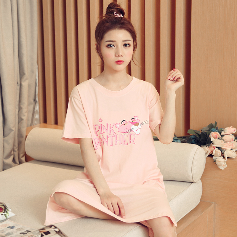 According To Feminine Short Sleeve Nightgown Women's Summer Lettered Leopard Nightgown M -Xxl 2019 New Style 160 Grams Two-color