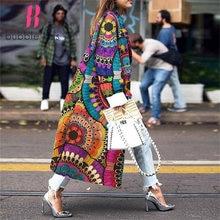 Женское длинное пальто с цветочным принтом модная винтажная