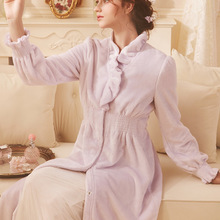 Robe Night Gown Elegant Lady Robe Velvet  Winter  House Robe for Women Pink Purple