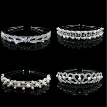 New Fashion Bride Simple Style Photo Headdress Handmade Pearl Rhinestone Sweet Hair Hoop Japan And South Korea Wild Set Drill Ho