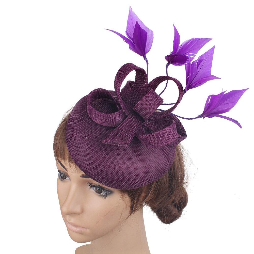 Новые женские шляпки с сеткой цвета хаки, модные женские шляпы с лентами для свадебной вечеринки, красивые аксессуары SYF570 - Цвет: Сливовый