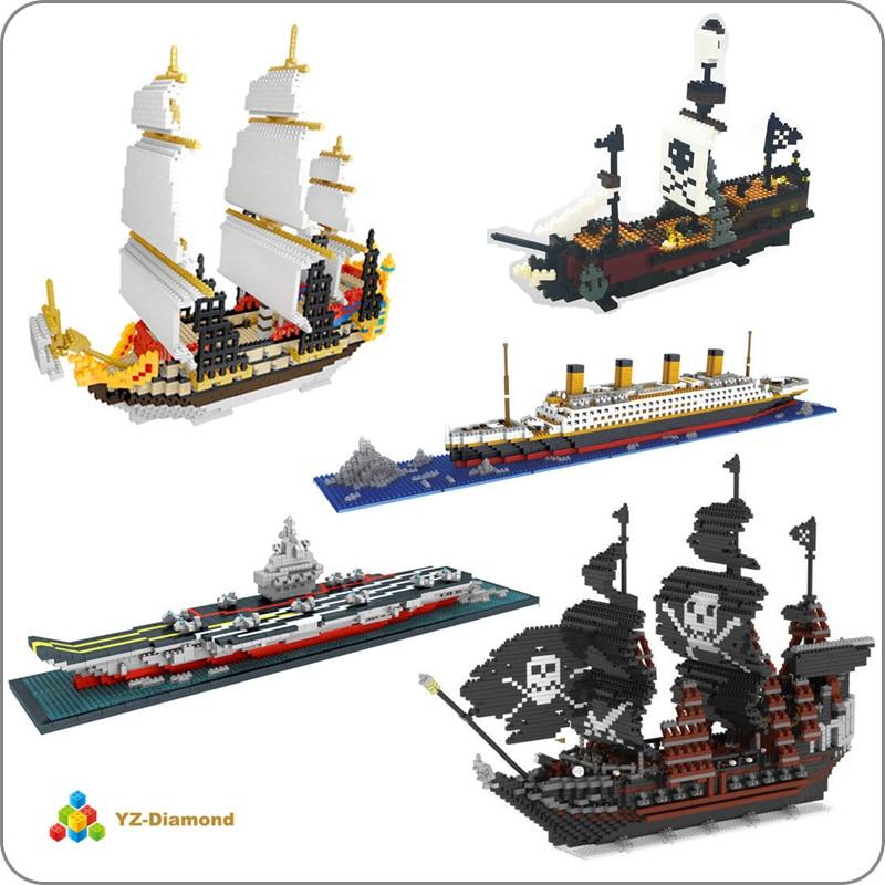 YZ Titanic Caribbean Pirate Sailing Black Pearl Ship Boat 3D Model DIY Mini Building Diamond Small Blocks Bricks Toy no box