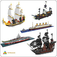 YZ Titanic Caribbean Pirate Sailing Black Pearl Ship Boat 3D Model DIY Mini Building Diamond Small Blocks Bricks Toy no box