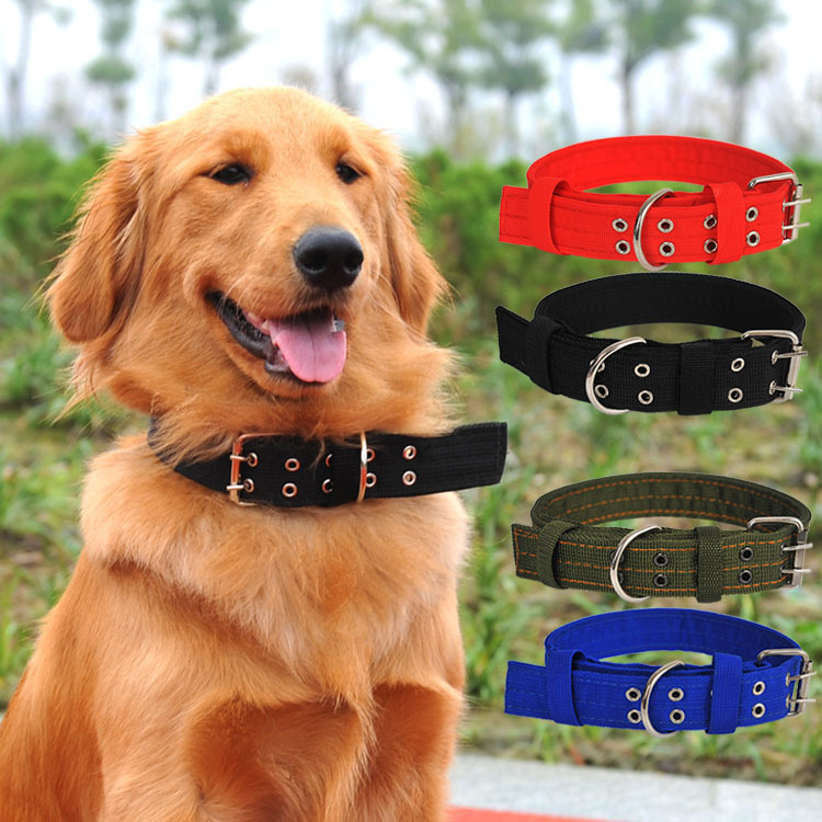 Four Layer Nylon Weaving Collar Tactical Dog Neck Ring Large Dog Bandana Golden Retriever Military Dog Large Dog Pet Collar