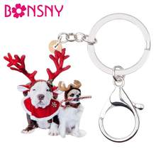 Bonsny Acrylic Christmas Antler Labrador Chihuahua Dog Key chains Key Ring Handbag Car Purse Keychains For Women Girl Charm Gift(China)