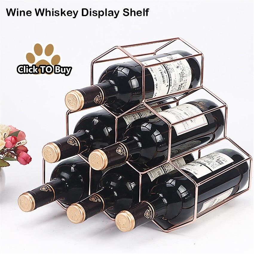 Wine-Rack-Wine-Whiskey-Display-Shelf-Metal-6-Bottle-Mount-Kitchen-Wine-Bottle-Holder-Stand-Organizer
