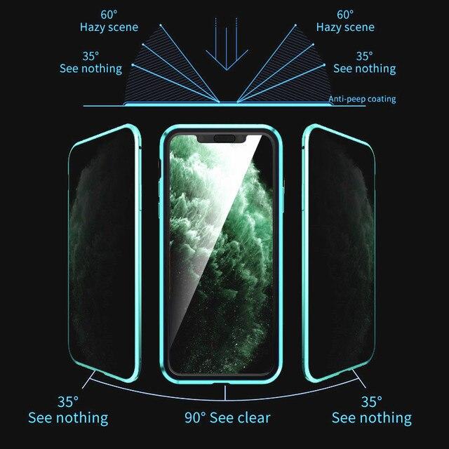 KISSCASE magnétique intimité étui en verre pour iPhone 11 XR XS étui Anti-espion 360 aimant de protection étui pour iPhone 11 Pro 6S 7 8 couverture 3