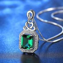 Ожерелье женское с подвеской из камней зеленого изумруда ювелирное