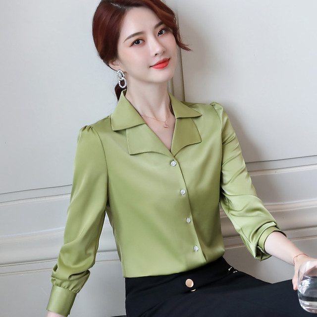 Double Neck Satin Shirt Women Long Sleeve Spring New Temperament Fashion Casual Blouses Office Ladies Formal Work Tops 2