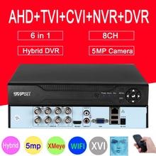 XMeye פנים לזהות אודיו H.265 + Hi3521D 5MP 8CH 8 ערוץ מעקב וידאו מקליט היברידי WIFI 6 ב 1 TVI CVI NVR AHD CCTV DVR