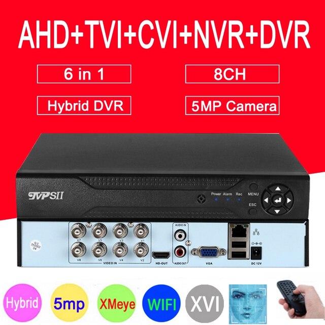 XMeye Viso Rilevare Audio H.265 + Hi3521D 5MP 8CH 8 Canali di Sorveglianza Video Registratore Hybrid WIFI 6 in 1 TVI CVI NVR AHD CCTV DVR