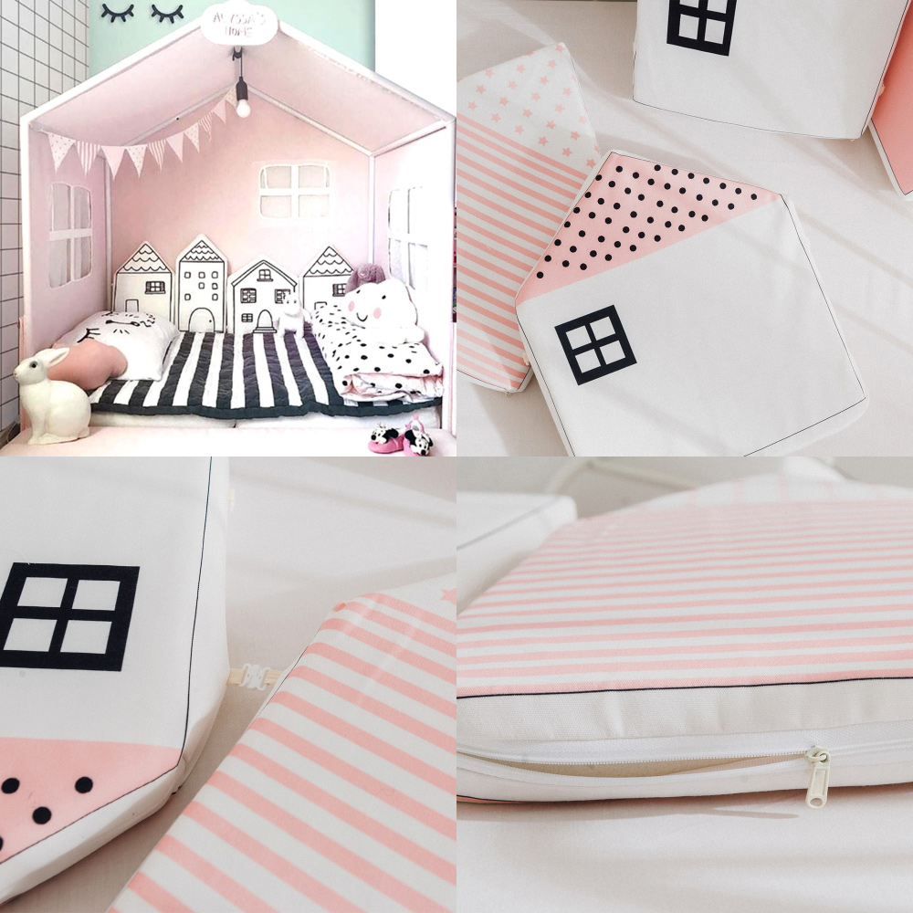 4Pcs Baby Bed Bumper Nordic INS Little House Pattern Baby Cribs Protector Infant Cotton Cradle Bumpers Baby Bed Room Decoration