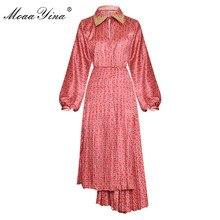 MoaaYina Fashion Designer Runway dress Spring Autumn Womens Dress Lantern sleeve Print Asymmetrical Dresses