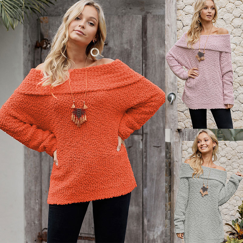 Clothing OWLPRINCESSS New Style Solid Color Wrap-around Horizontal Neck Long Sleeve Loose-Fit Pullover Woollen Sweater