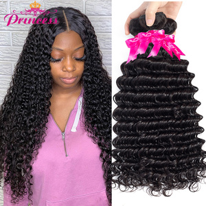 Beautiful Princess Hair Deep Wave Bundles Can Buy 1/3/4 Bundles 100% Remy Human Hair Extensions Brazilian Hair Weave Bundles(China)