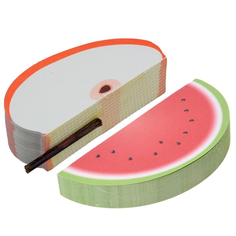 2Pcs Bookmark Of Fruit Note Bookmark Sticker Bookmark Sticker Water Melon Memo&Red-Apple