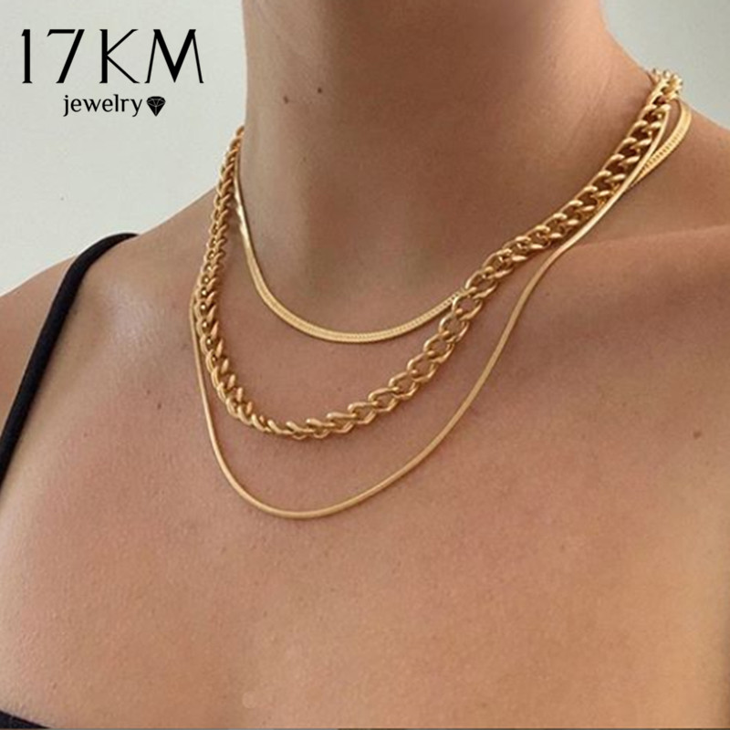 17KM Fashion Multi-layered Snake Chain Necklace For Women Vintage Gold Coin Pearl Choker Sweater Necklace Party Jewelry Gift