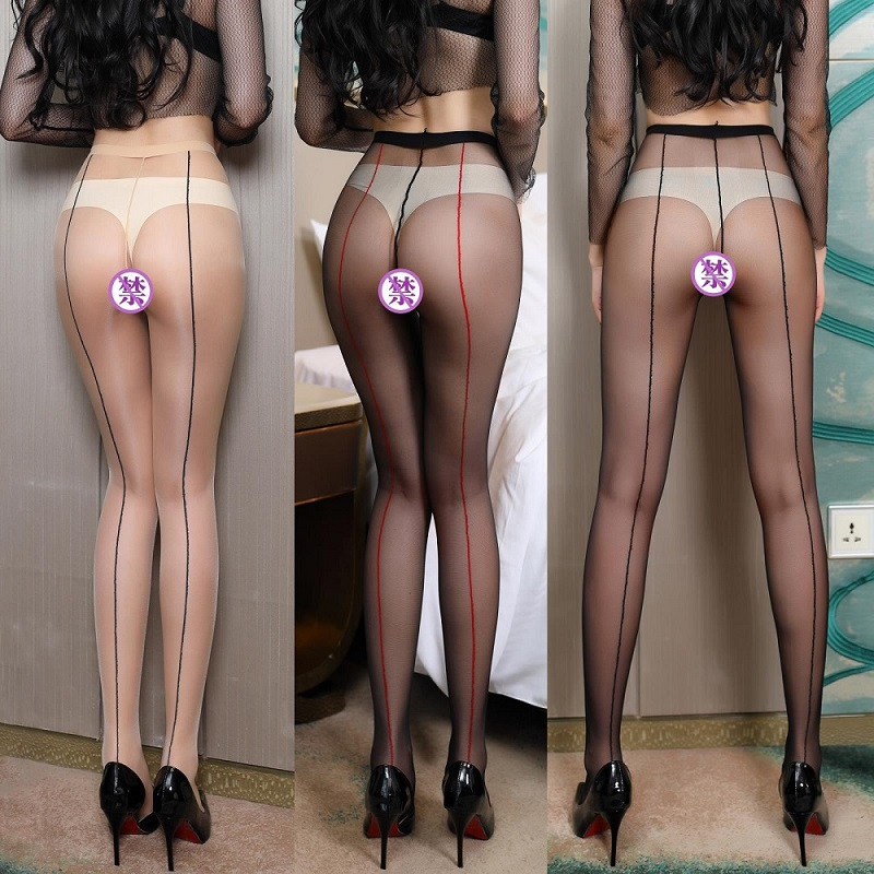 <font><b>Sexy</b></font> Ultrathin Tights Stockings <font><b>For</b></font> <font><b>Women</b></font> Ladies <font><b>Erotic</b></font> <font><b>Lingerie</b></font> <font><b>Open</b></font> <font><b>Crotch</b></font> High Waist Pantyhose Breathable Thigh Stripe Stocki image