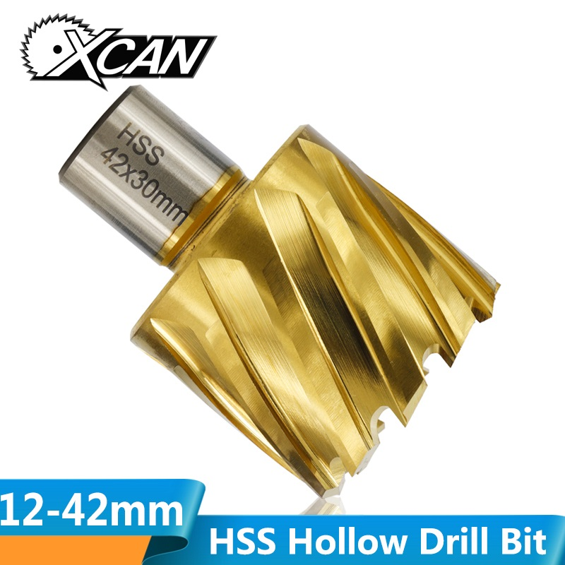 XCAN 1pc 12-42mm TiN Coated HSS Hollow Drill Bit With Weldon Shank Hollow Drill Bit Core Drill Bit Metal Hole Opener Cutter