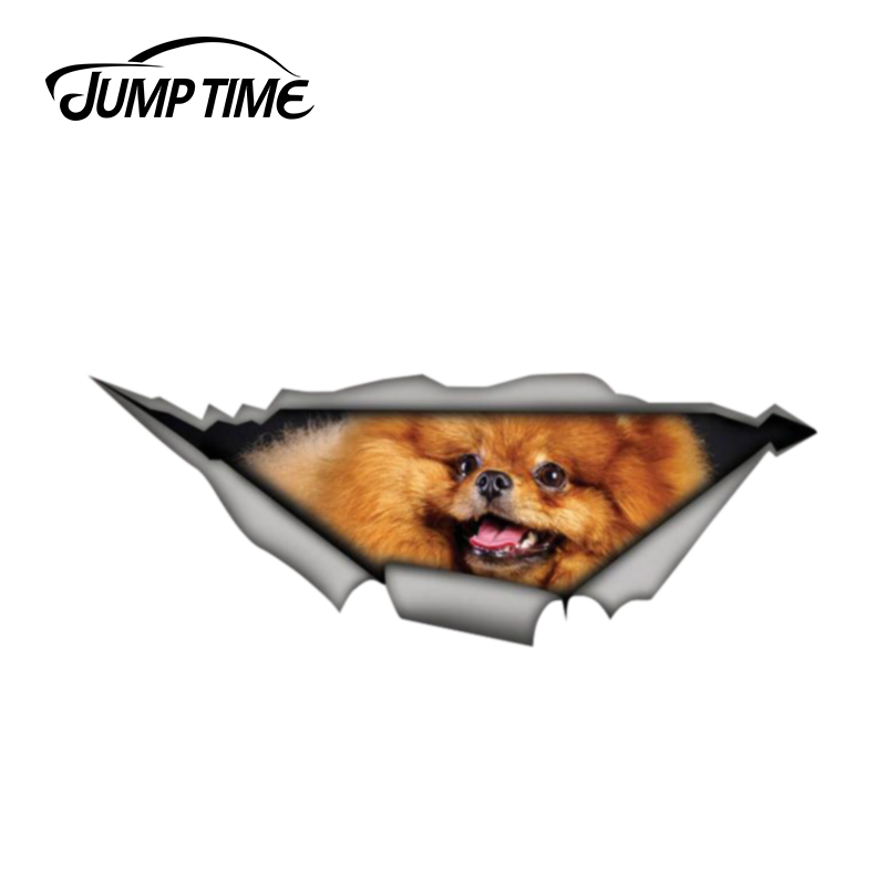 Jump Time 13cm X 4.8cm Pomeranian Sticker 3D Pet Graphic Vinyl Decal Car Window Laptop Bumper Animal Car Stickers
