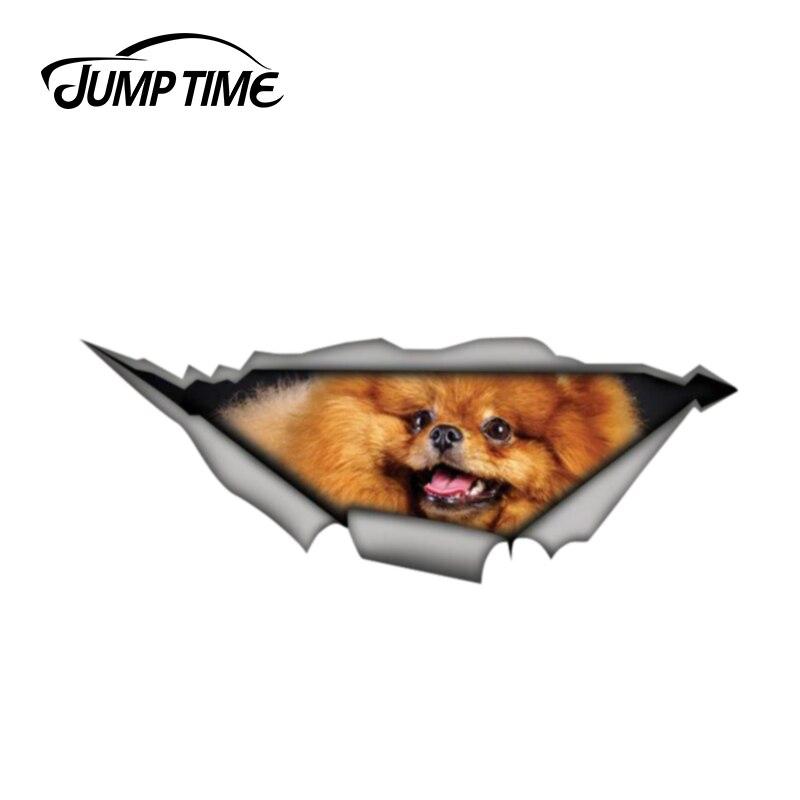 Jump Time 13cm X 4.8cm Pomeranian Sticker 3D Pet Graphic Vinyl Decal Car Window Laptop Bumper Animal Car Stickers