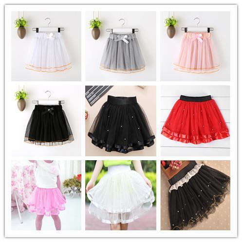 Girl'S Miniskirt Children Dance Skirt Kids Autumn Christmas Baby Puffy Short Skirt Princess Pearl Mesh Dress