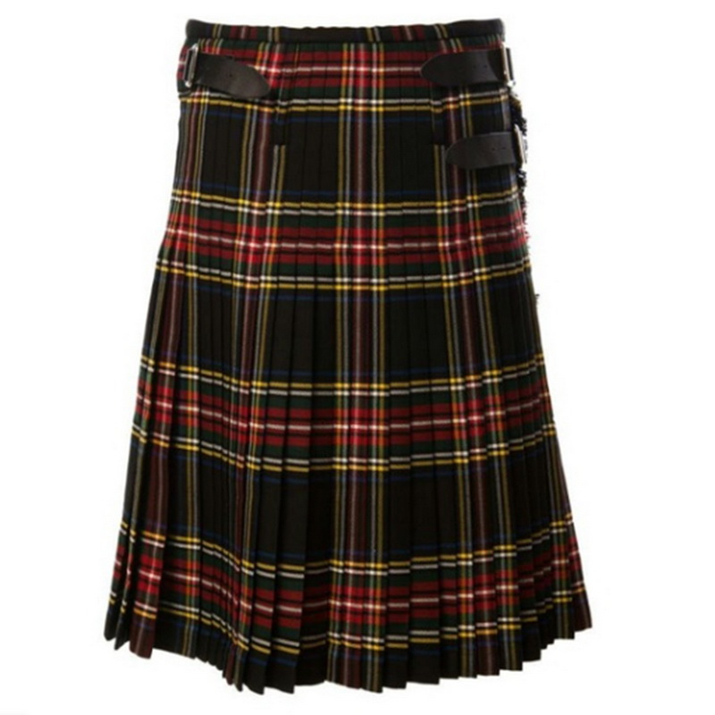 Dihope Scottish Men Kilt Traditional Plaid Belt Pleated Chain Bilateral Brown Gothic Punk Scottish Plaid Pants Skirts 2020