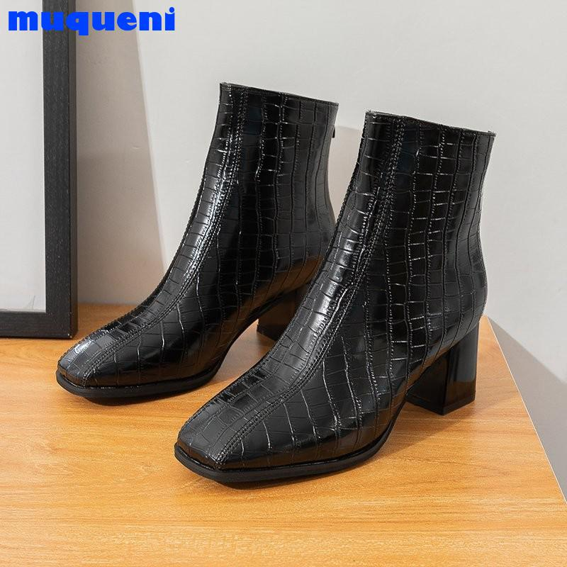 High Quality Thick High Heels Women Ankle Boots Square Toe Zip Footwear PU Leather Female Boot Shoes Woman 2021 New Winter